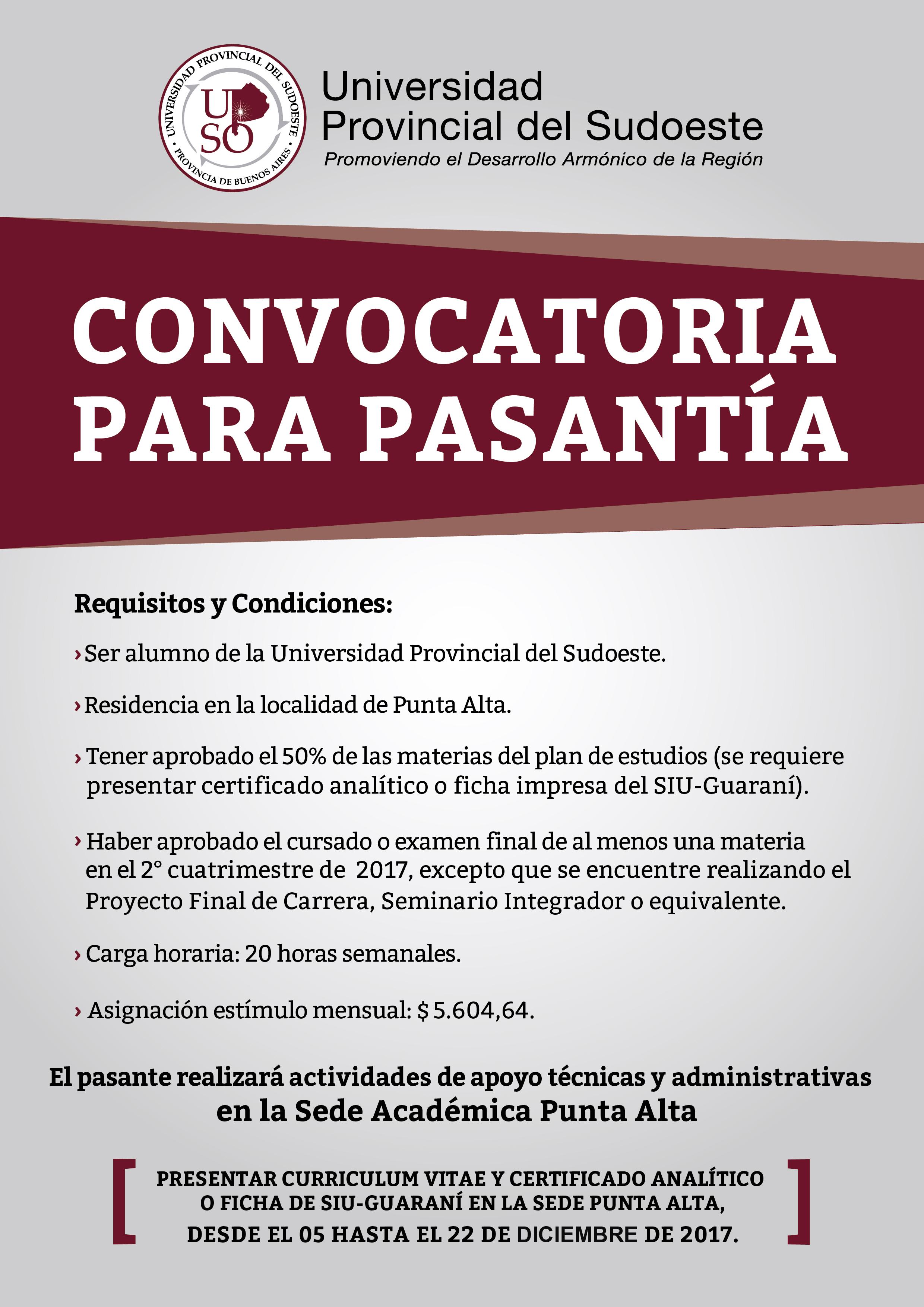 Punta Alta: Nueva Convocatoria para Pasantía - Universidad ...